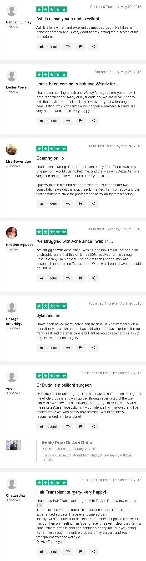 Dr Ash dutta reviews on trustpiolet